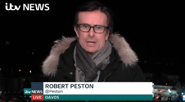 Peston reporting from Davos for ITV News last month