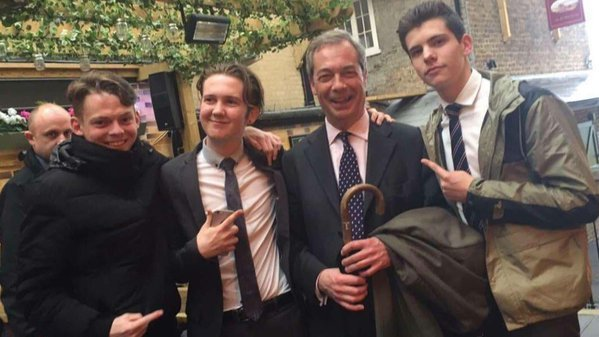 My brother's friends with Nigel Farage in, you guessed it, a pub.