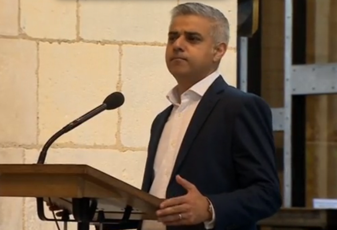 Sadiq Khan this morning, during his first speech as Mayor of London