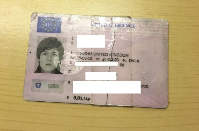 The infamous ID, sellotape and all