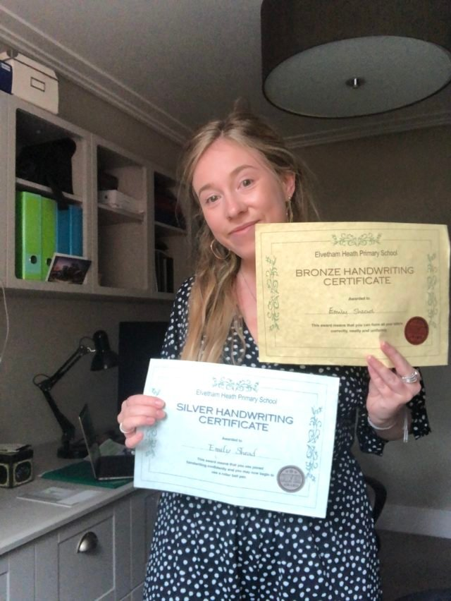 Girl with handwriting certificates